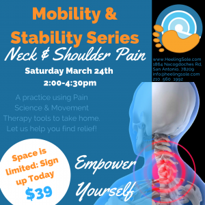 Self care class for Neck and shoulder pain at Heeling Sole